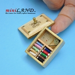 Light wood sewing kit with thread  dollhouse miniature