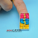 Tricloured box of thread dollhouse miniature