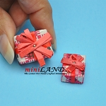 2 piece matching presents with bows box dollhouse miniature