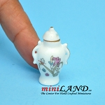 White ceramic vase with lid dollhouse miniature 1:12