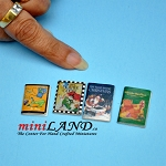 4 piece set of childrens books dollhouse miniature 1:12