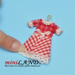 Checkered red dress on hanger dollhouse miniature 1:12