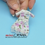 White floral printed dress on hanger dollhouse miniature 1:12