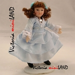 Victorian Girl Porcelain doll  in blue 4