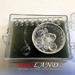 8 Piece Punch Bowl Set, Crystal by Chrysnbon dollhouse miniature 1:12