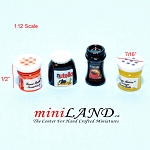 Miniature coffee jam Nutella 4pcs For 1:12 Dollhouse Kitchen Accessories food
