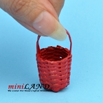 RED WICKER BASKETS FOR fruits FLOWERS, VEGETABLES  Dollhouse miniature 1:12