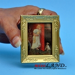 Painting of girl and puppy with gold frame  dollhouse miniature 1:12