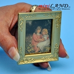 Painting of two girls with gold frame dollhouse miniature 1:12