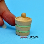 Wooden jar with lid  dollhouse miniature 1:12