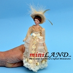 VICTORIAN LADY in ivory dress with hat PORCELAIN DOLL 5.75
