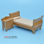 Clearance sale - Teak Victorian bed and Bedside Table for dollhouse miniature 1:12 scale