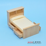 Clearance sale - Light Oak  bed with shelves for dollhouse miniature 1:12 scale
