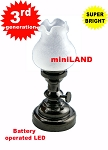 Large BLACK Tulip  Table Lamp LED Super bright with On/off switch for 1:12 dollhouse miniature