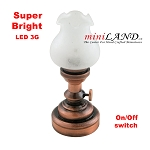 Copper  Large Tulip  Table Lamp LED Super bright with On/off switch for 1:12 dollhouse miniature
