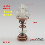 Antique Cooper color oil  lamp light battery operated on-off switch for 1:12 dollhouse miniature