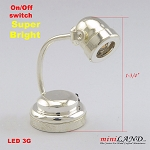 Silver table desk spot light  lamp battery operated on-off switch for 1:12 dollhouse miniature