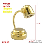 Brass  table desk spot light  lamp battery operated on-off switch for 1:12 dollhouse miniature