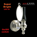 Silver clear  wall sconce lamp LED Super bright with On/off switch for dollhouse miniature 1:12 scale