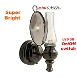 Black clear wall sconce oil lamp LED Super bright with On/off switch for dollhouse miniature 1:12 scale