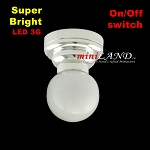 Silver Ceiling lamp  white globe light  LED Super bright with On/off switch