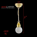 Brass white globe hanging lamp LED Super bright with On/off switch for 1:12 dollhouse miniature