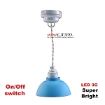 Blue ceiling boy room lamp LED Super bright with On/off switch for dollhouse miniature 1:12 scale
