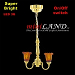 Battery operated LED LAMP Dollhouse miniature light chandelier 2arm on/off switch 1:12 scale