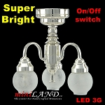 3 Arm Silver chandelier LED Super bright with On/off switch for 1:12 dollhouse miniature
