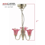 Pink Victorian 3-Arm Tulip SILVER Chandelier LED Super bright with On/off switch for 1:12 dollhouse miniature NEW