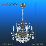 Crystal BLACK chandeliers, 6 arms, LED Super bright with On/off switch 1:12 dollhouse miniature