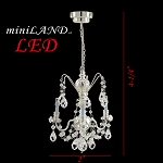 Crystal Silver chandeliers, 3 arms, LED Super bright with On/off switch For 1:12 dollhouse miniature