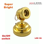 Brass spot light  lamp LED Super bright with On/off switch for dollhouse miniature 1:12 scale