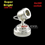 SILVER spot light  lamp LED Super bright with On/off switch 1:12 dollhouse miniature
