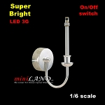 1/6 scale SILVER candle wall sconce LED Super bright with On/off switch