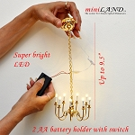 Playscale brass 8 arms chandelier 1:6 Barbie scale battery operated LED  light for dollhouse miniature