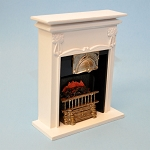 Tall English white fireplace for 1:12 dollhouse miniature