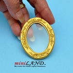 Oval golden frame with glass  dollhouse miniature 1:12