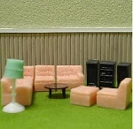 LIVING ROOM SET 1:48 11PC Plastic