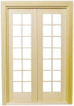 French Doors (Half scale 1:24) for Dollhouse miniature