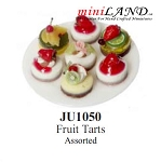 ASSORTED FRUIT TARTS for dollhouse miniature 1:12 scale