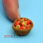 Strawberry Basket dollhouse miniature 1:12