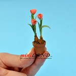 Tulips In Pot -Pink for dollhouse miniature 1:12 scale