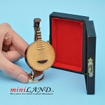 Miniature round lute musical instruments  with Case and stand for Dollhouse 2-3/4