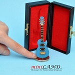 Miniature blue Electric Guitar  with Case and stand for Dollhouse 3-1/4