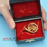 Miniature brass  French Horn  with Case for Dollhouse 1-1/2