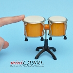Miniature yellow drum bongo musical instruments  with Case and stand for Dollhouse 2-7/8