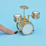 Miniature small drum set with Cymbals  instrument  for Dollhouse 2-1/2