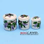 Cannisters Grapes- Set/3 Dollhouse miniature 1:12