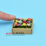 Mixed Flowers In Wooden Flat for dollhouse miniature 1:12 scale